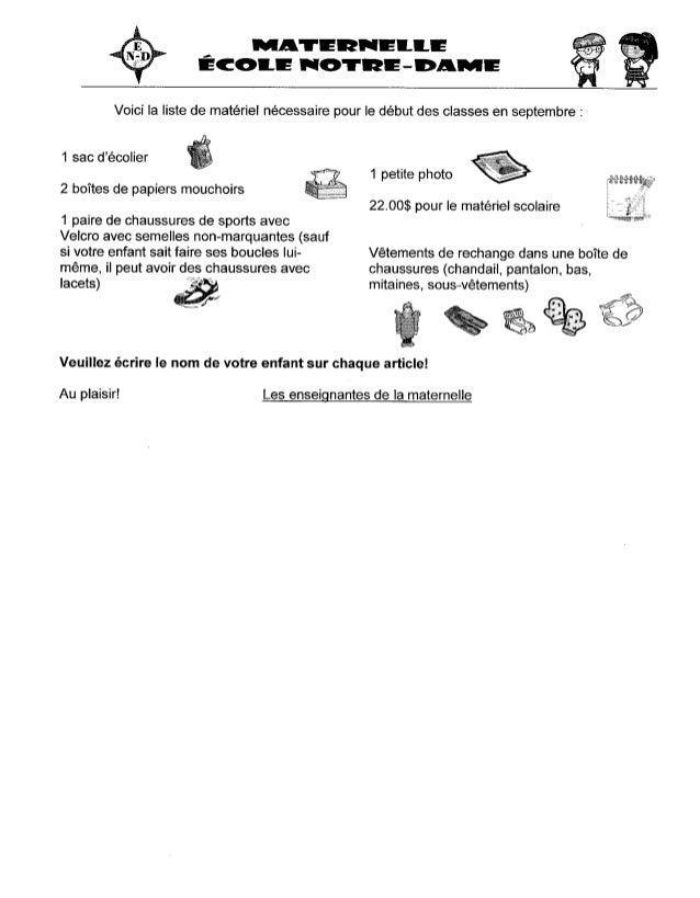 Listes de matériel scolaire