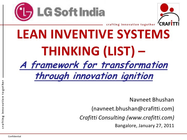 crafting innovation together                                       LEAN INVENTIVE SYSTEMS                                 ...