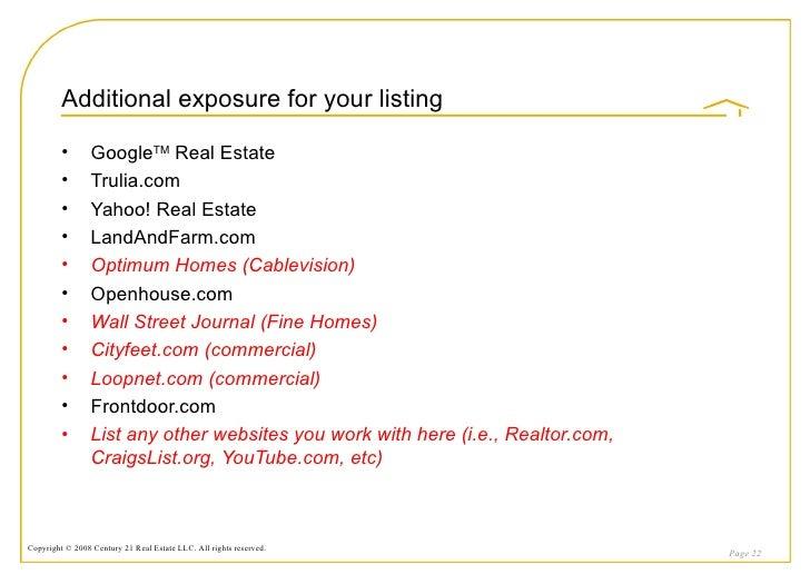 century 21 listing presentation pdf