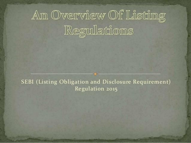 SEBI (Listing Obligation and Disclosure Requirement) Regulation 2015