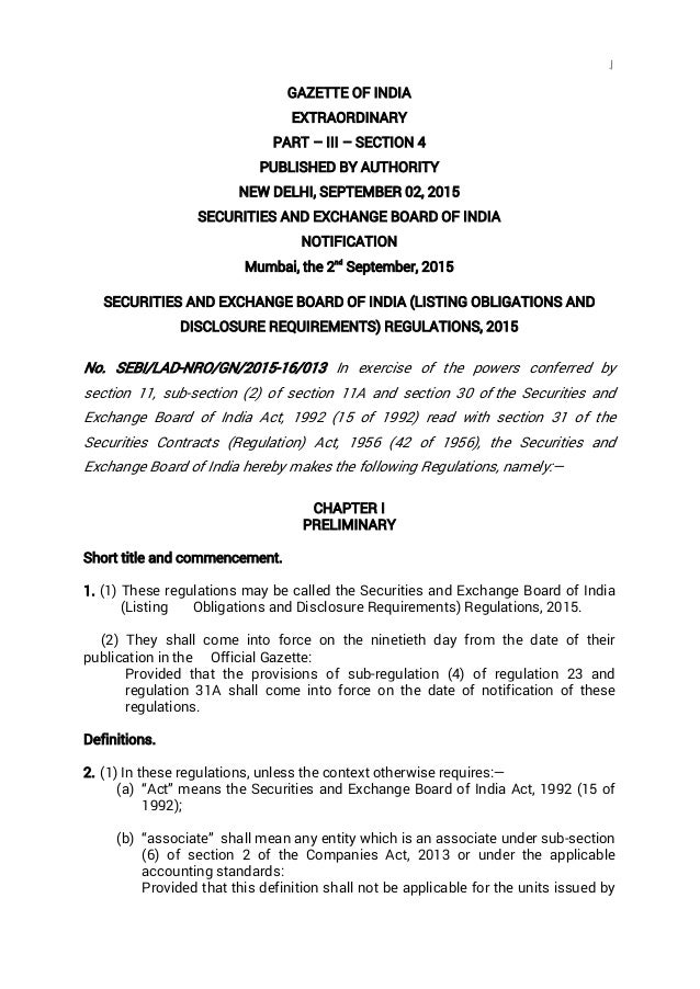 1 GAZETTE OF INDIA EXTRAORDINARY PART – III – SECTION 4 PUBLISHED BY AUTHORITY NEW DELHI, SEPTEMBER 02, 2015 SECURITIES AN...