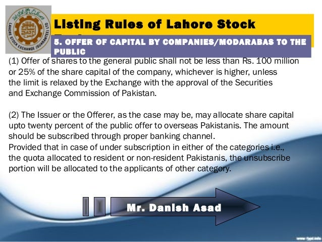 Listing rules of kse, lse, ise new