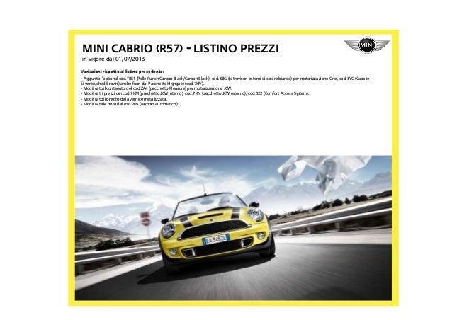 Listino Prezzi Mini Cabrio R57 2013