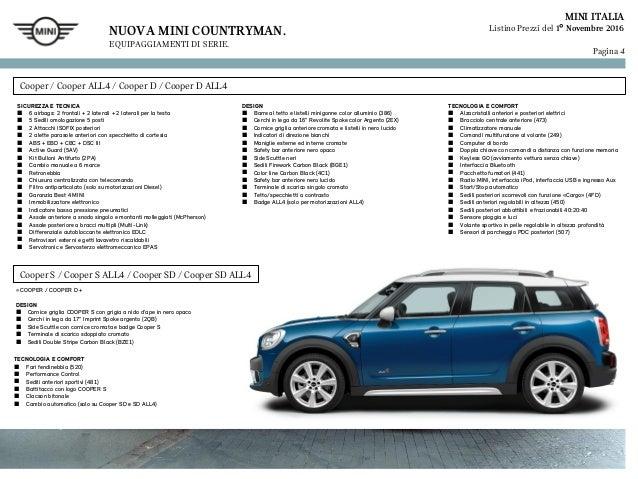 Listino Prezzi Mini Countryman 2017