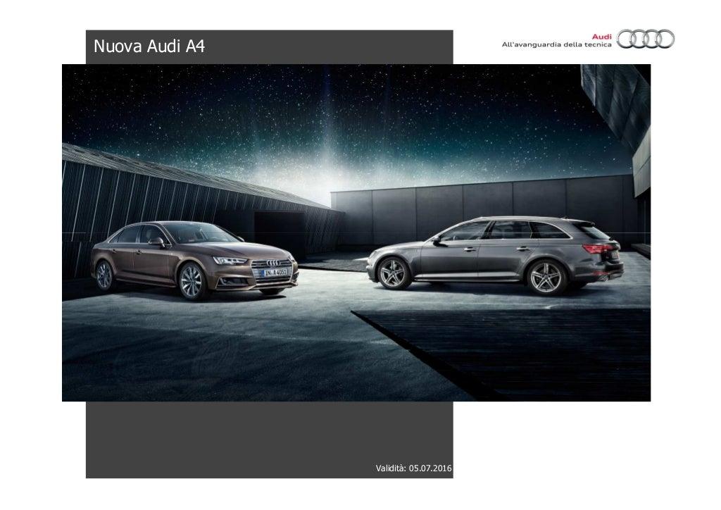 Listino Prezzi Audi A4 2016 Luglio