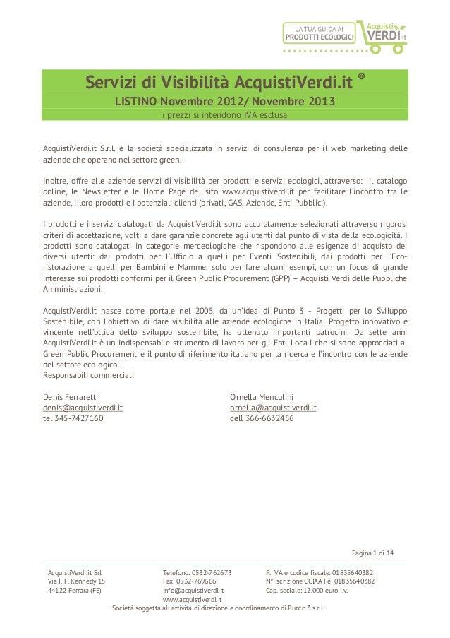Servizi di Visibilità AcquistiVerdi.it ®                        LISTINO Novembre 2012/ Novembre 2013                      ...