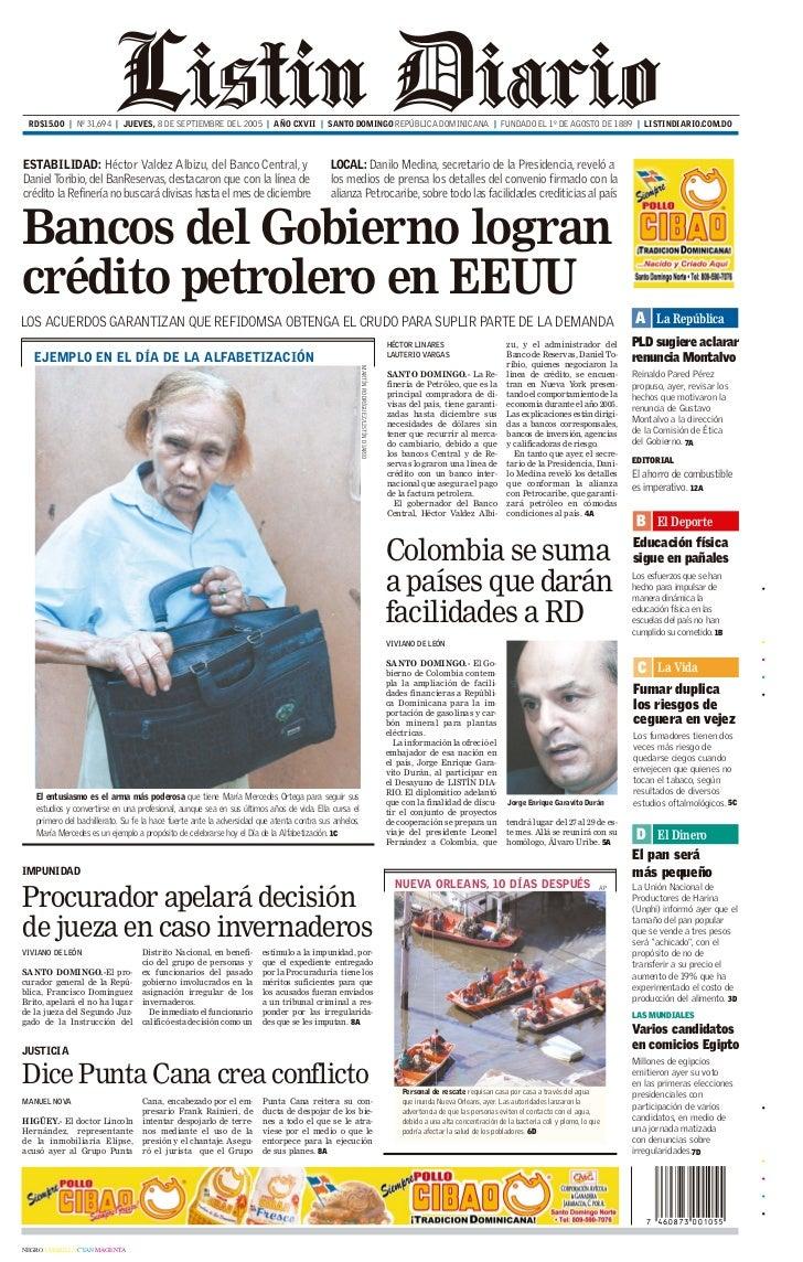 Primera Plana Listin Diario 8 09 2005