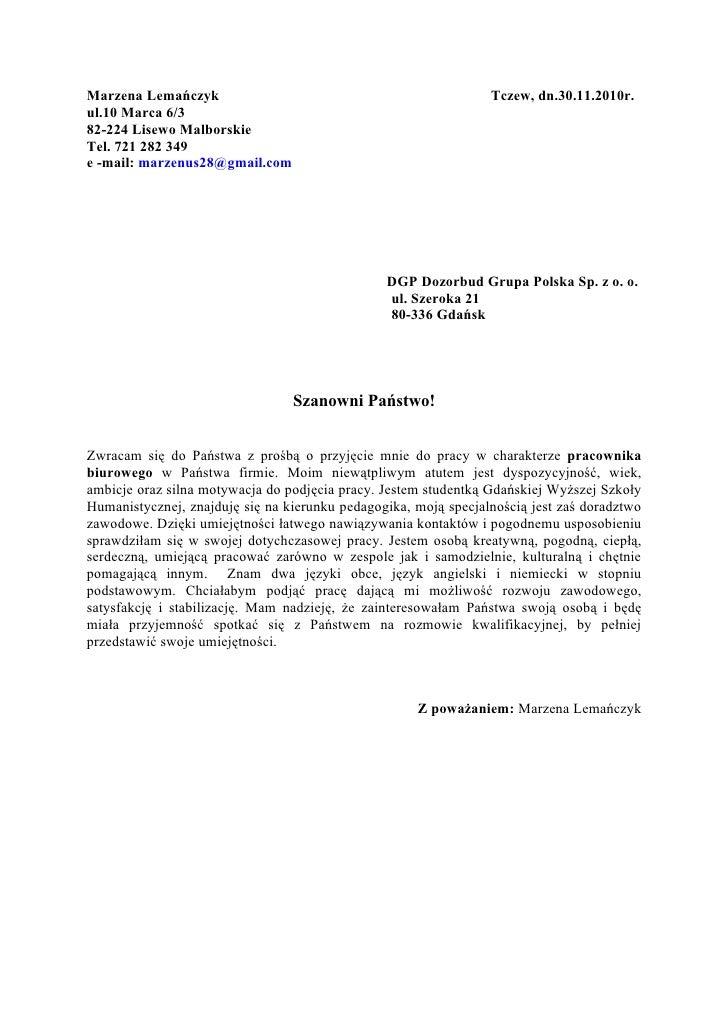 List Motywacyjny Wypełniony Pracownik Biurowy