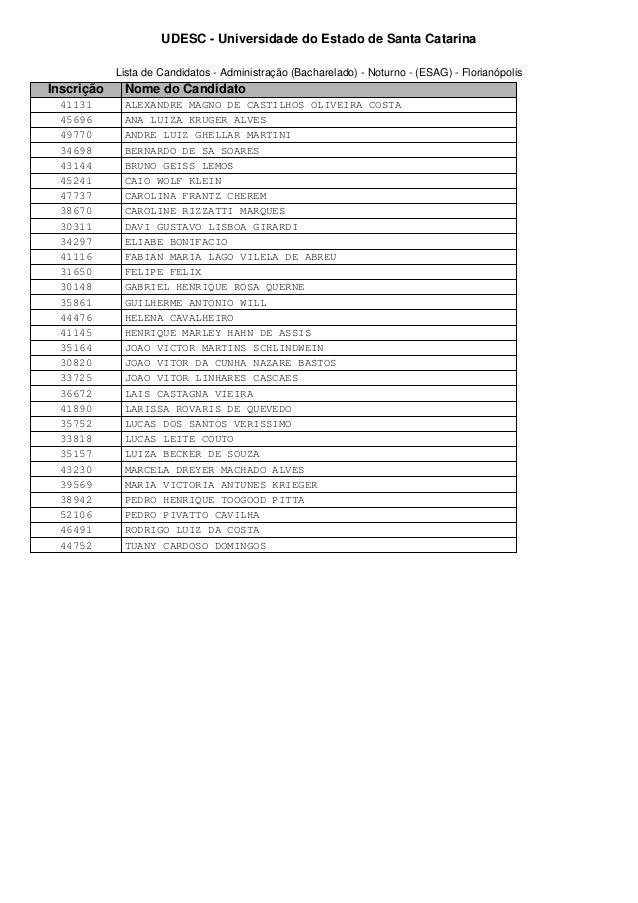 UDESC - Universidade do Estado de Santa Catarina  Lista de Candidatos - Administração (Bacharelado) - Noturno - (ESAG) - F...