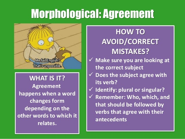 """reaction paper for subject verb agreement Subject-verb agreement tips the general rule the subject of a sentence should always agree with its verb in number and person add an """"s"""" to the verb if the."""