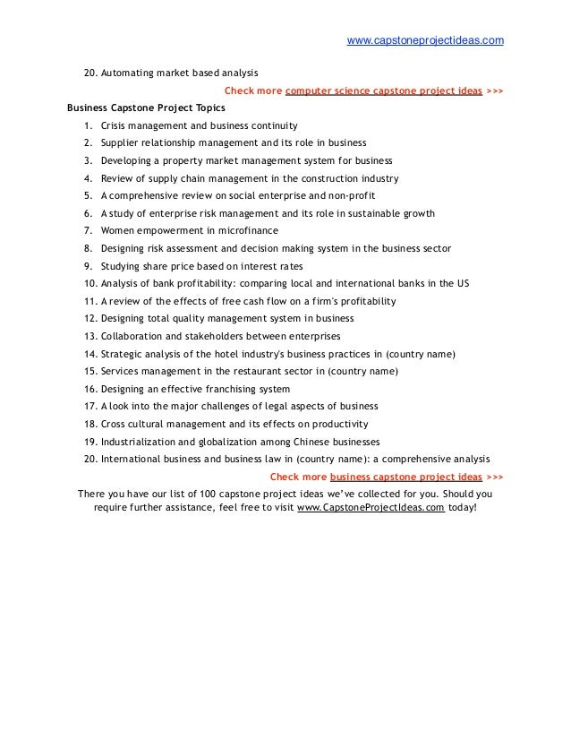 List of 100 Best Capstone Project Ideas