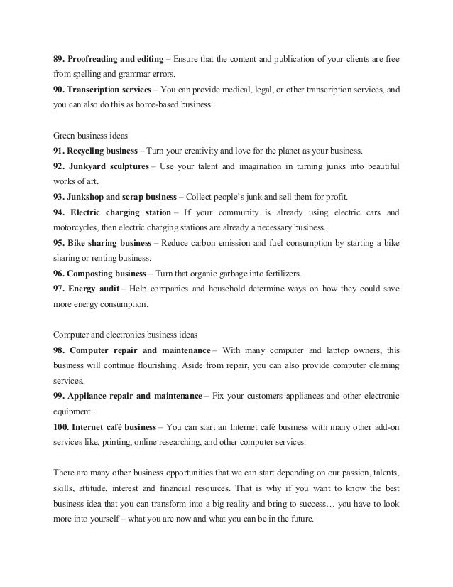 List of 100 business ideas for 2013