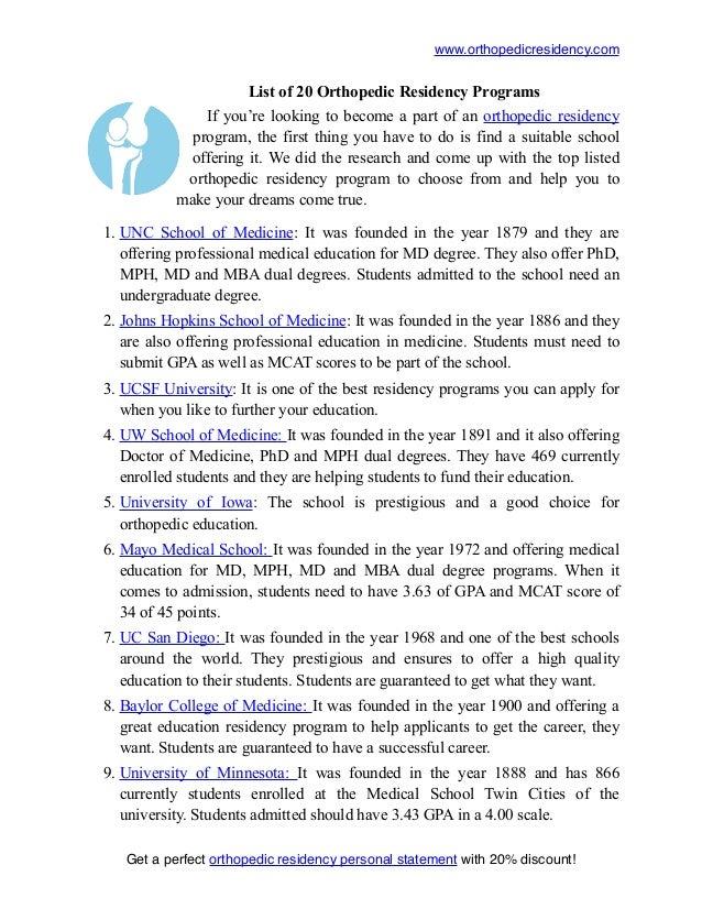 List of 20 Best Orthopedic Residency Programs