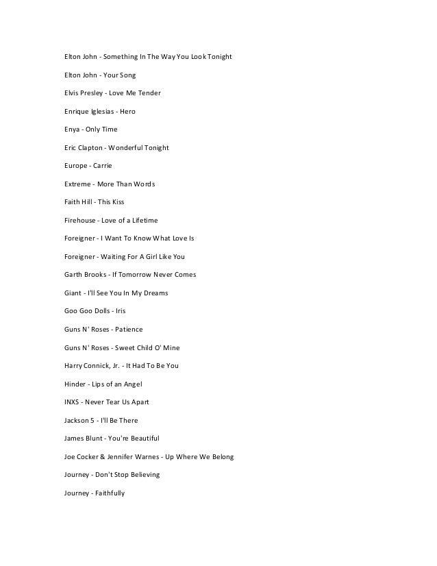 List Of 50 Love Songs