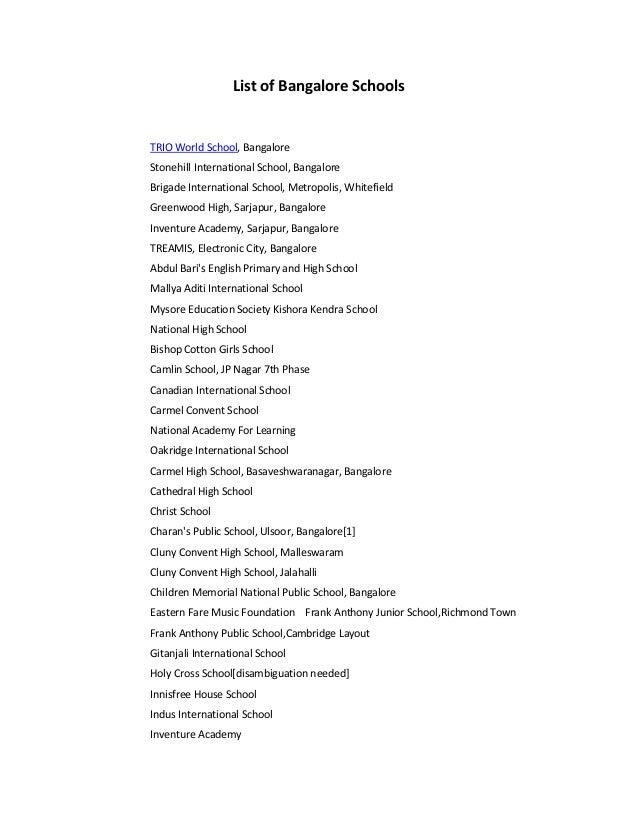 LIST OF SCHOOLS IN BANGALORE EBOOK DOWNLOAD