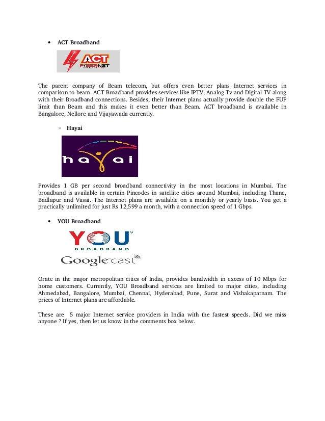 List of best five fiber optic broadband providers in delhi