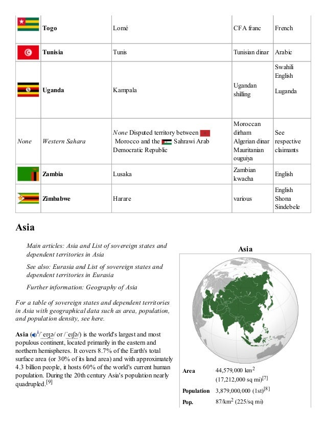 Asia Area 44,579,000 km2 (17,212,000 sq mi)[7] Population 3,879,000,000 (1st)[8] Pop. 87/km2 (225/sq mi) Togo Lomé CFA fra...