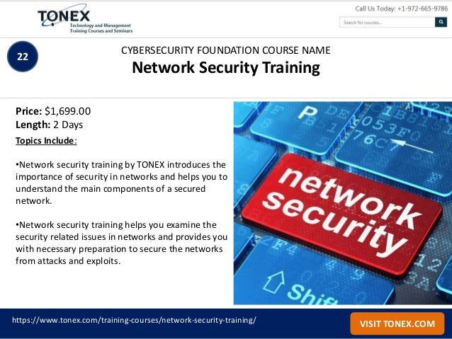 List of cybersecurity training courses by Tonex