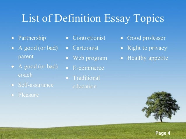 List Of Definitions Essay Topics Powerpoint Templates Page  List Of Definition Essay Topics