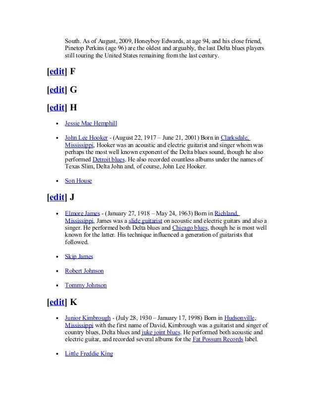 List of delta blues musicians Slide 3