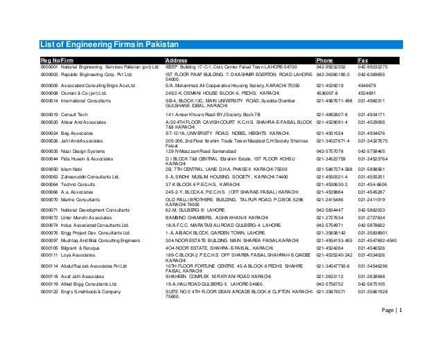 List of engineering firms in pakistan