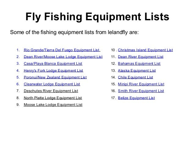list of fishing equipment