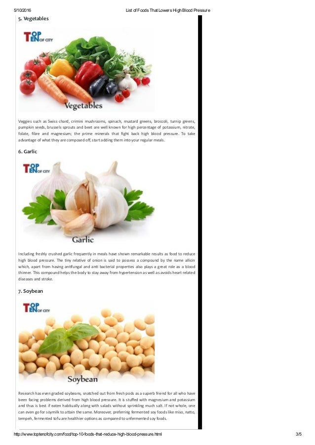List Of Food To Take To Reduce High Blood Pressure