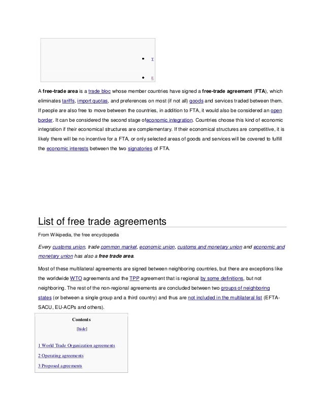 List Of Free Trade Agreements