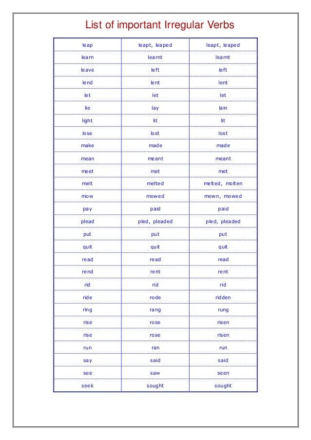 Make A List Of Irregular Verbs