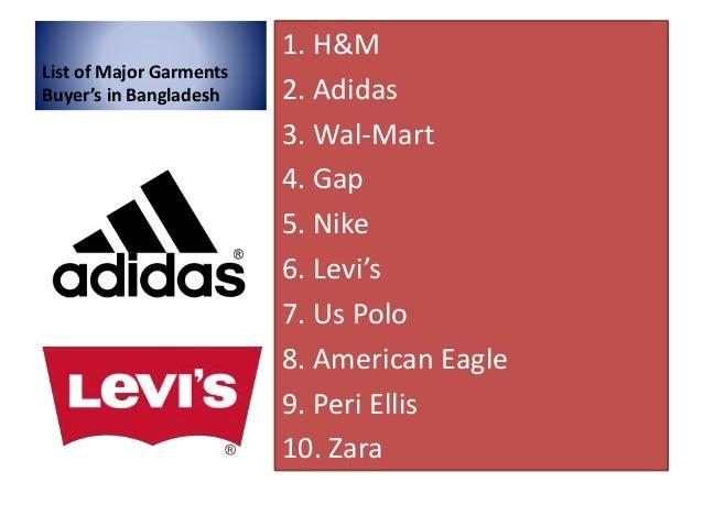 List of major garments buyer's in bangladesh