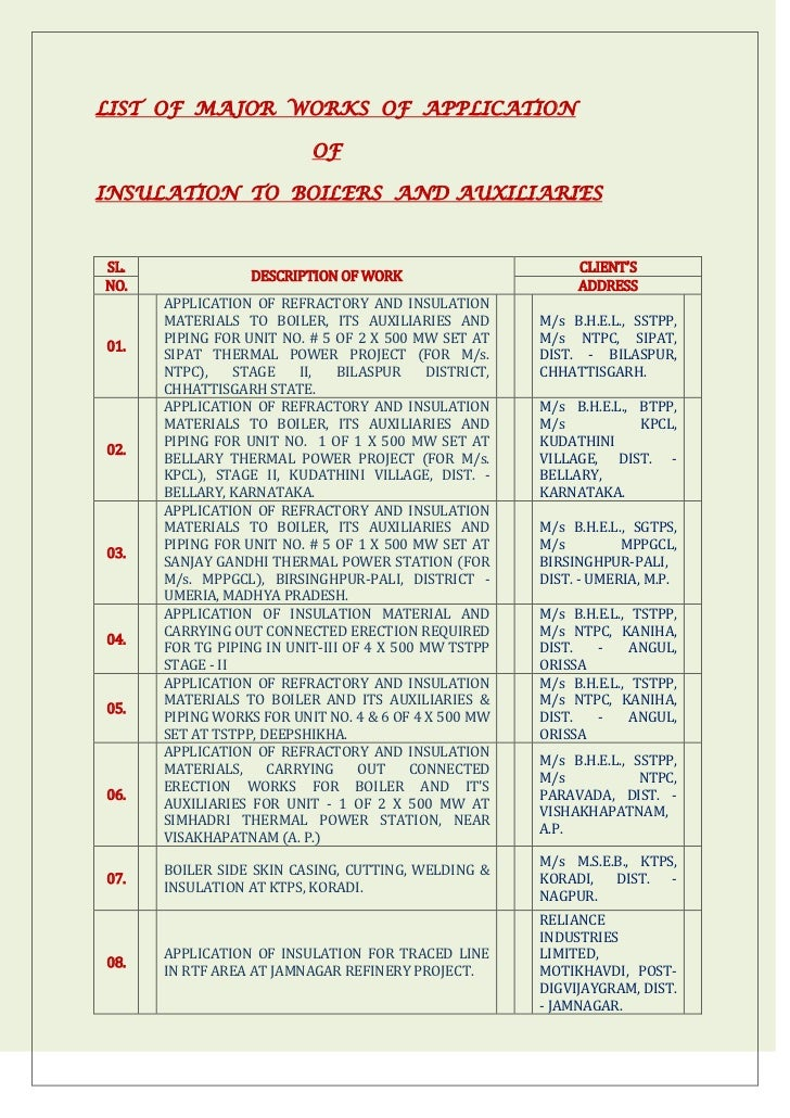 LIST OF MAJOR WORKS OF APPLICATION                           OFINSULATION TO BOILERS AND AUXILIARIESSL.                   ...