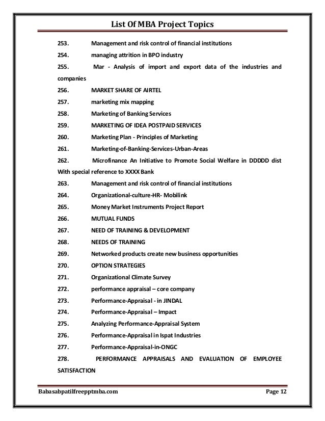mba thesis titles list