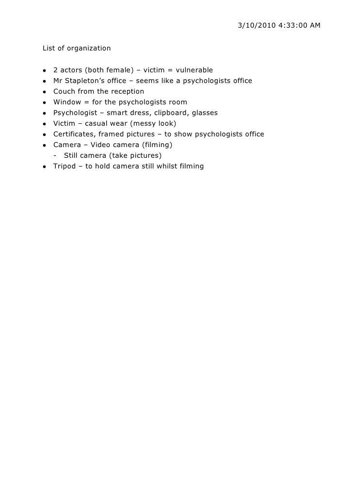 List of organization<br />2 actors (both female) – victim = vulnerable<br />Mr Stapleton's office – seems like a psycholog...