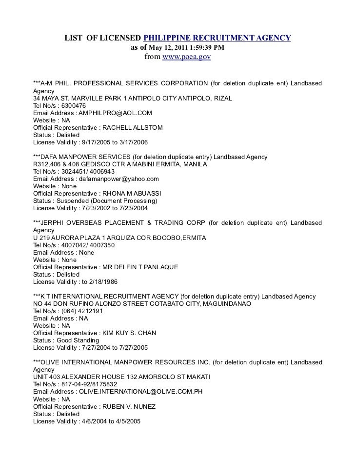 LIST OF LICENSED PHILIPPINE RECRUITMENT AGENCY                       as of May 12, 2011 1:59:39 PM                        ...