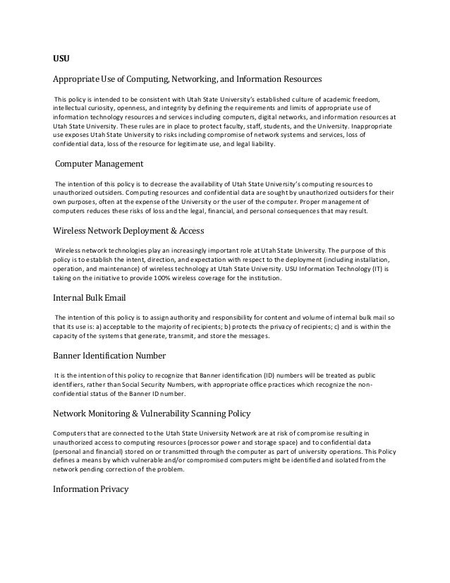 USUAppropriate Use of Computing, Networking, and Information Resources This policy is intended to be consistent with Utah ...