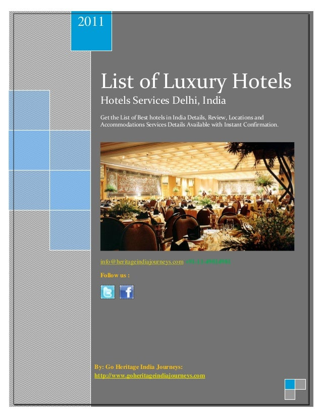 2011    List of Luxury Hotels    Hotels Services Delhi, India    Get the List of Best hotels in India Details, Review, Loc...