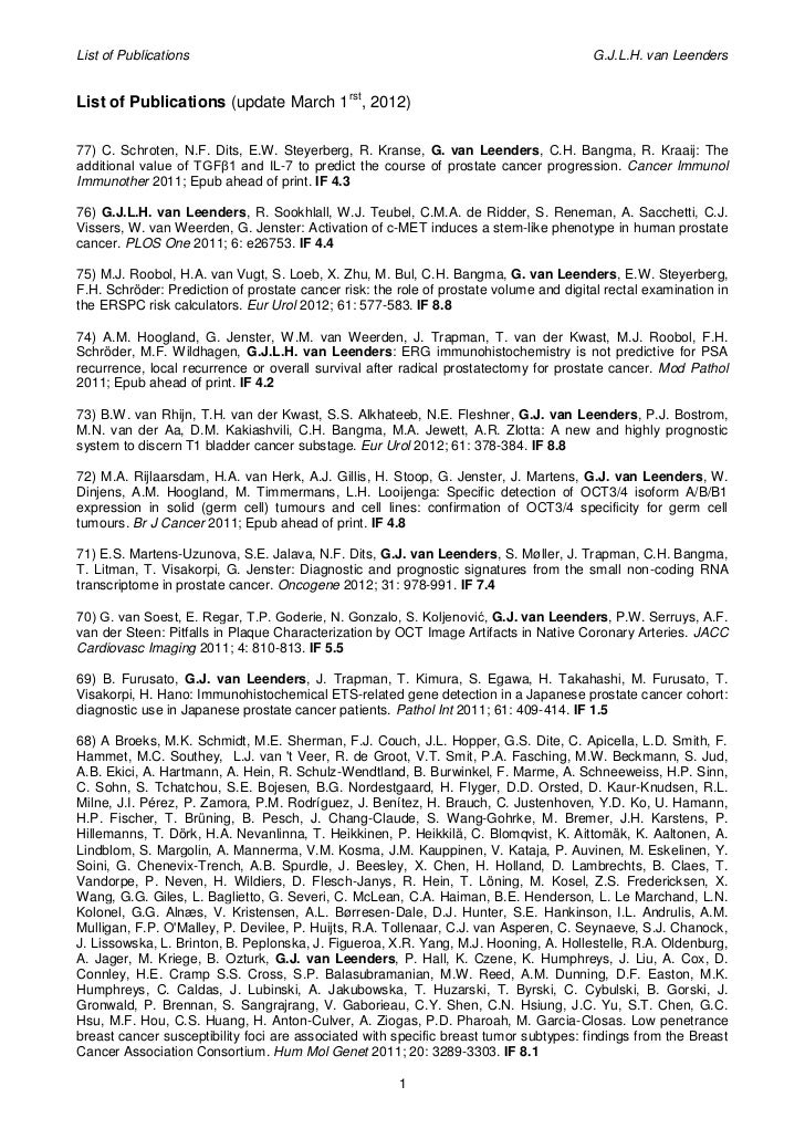 List of Publications                                                                    G.J.L.H. van LeendersList of Publi...