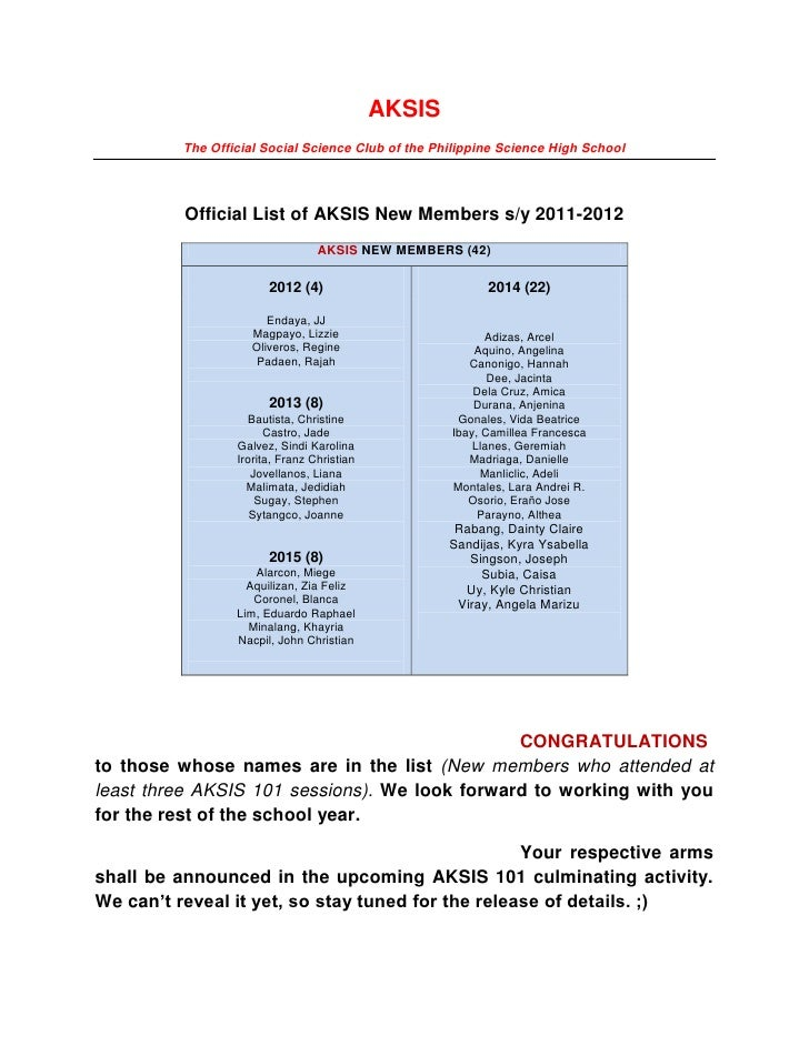 AKSIS          The Official Social Science Club of the Philippine Science High School          Official List of AKSIS New ...