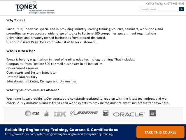 List of reliability engineering training, courses and