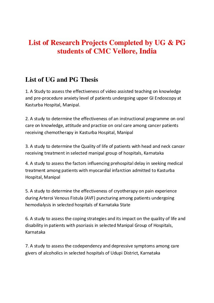 list of research projects cmc vellore list of research projects completed by ug pg students of cmc vellore list of