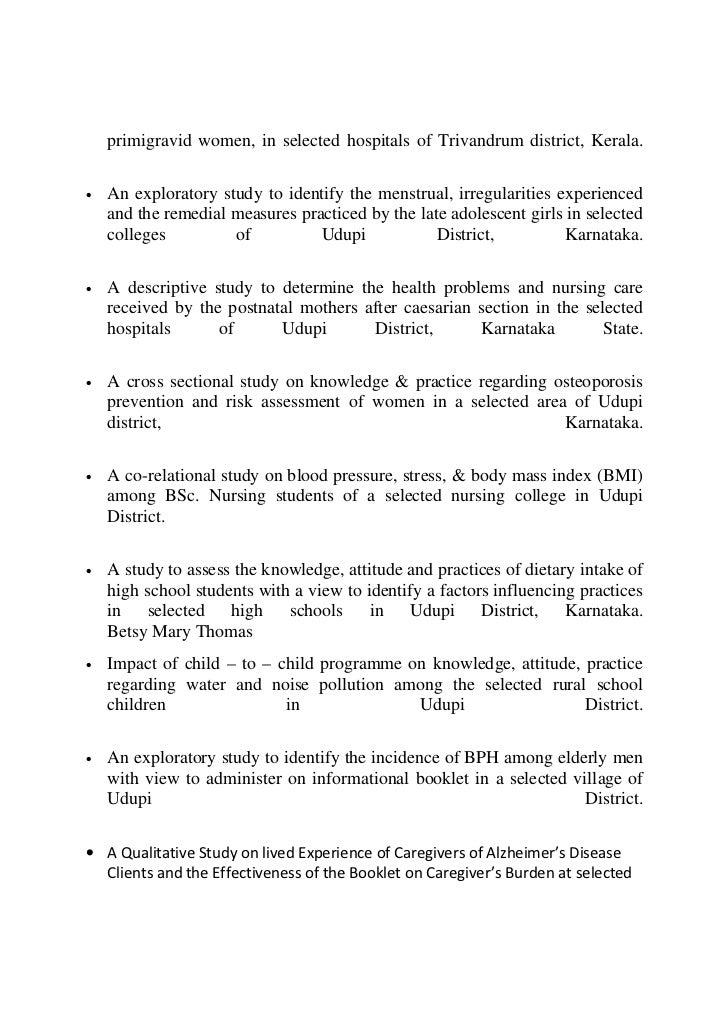 cmc vellore thesis topics