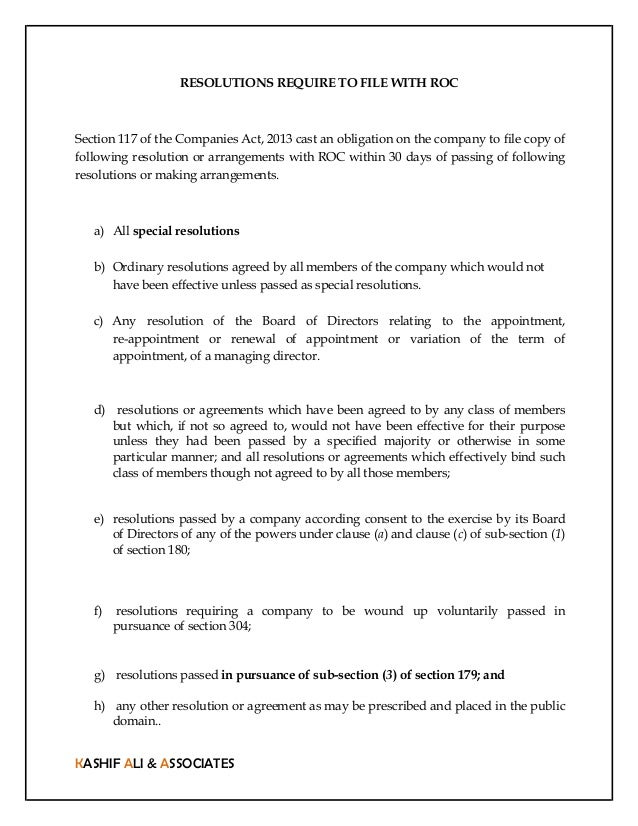 List of resolutions need to be filed with ROC in EForm MGT14 – Corporate Resolution Form