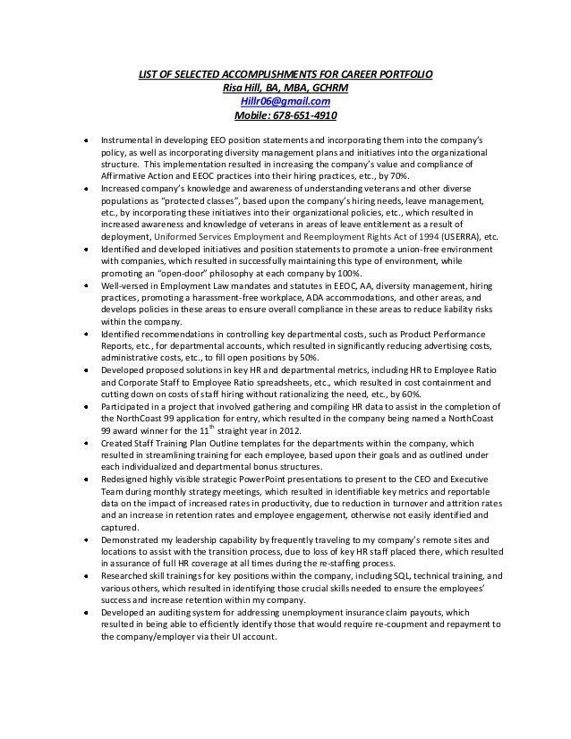 list of selected accomplishments for career portfolio risa