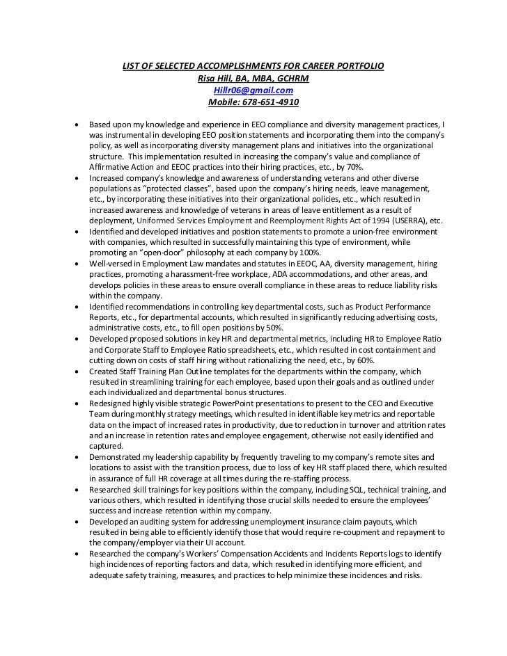 List of selected accomplishments for career portfolio 9.30.12