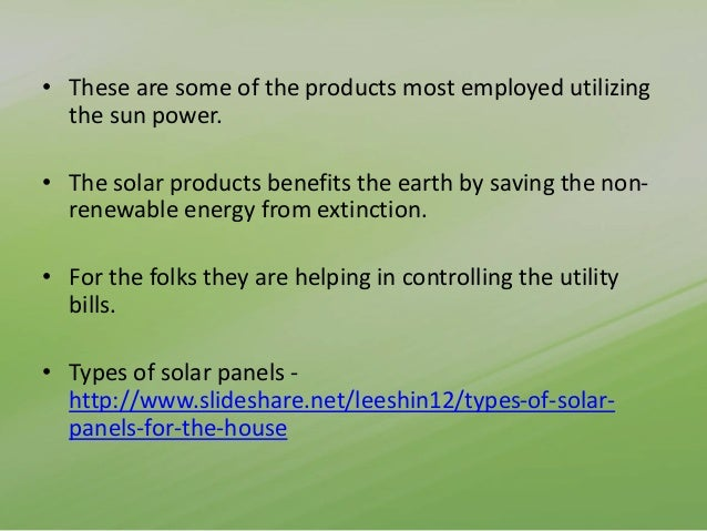 List of solar products used in home