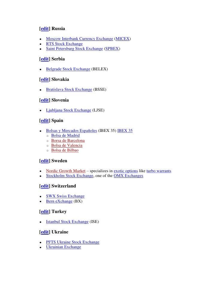 List of stock exchange