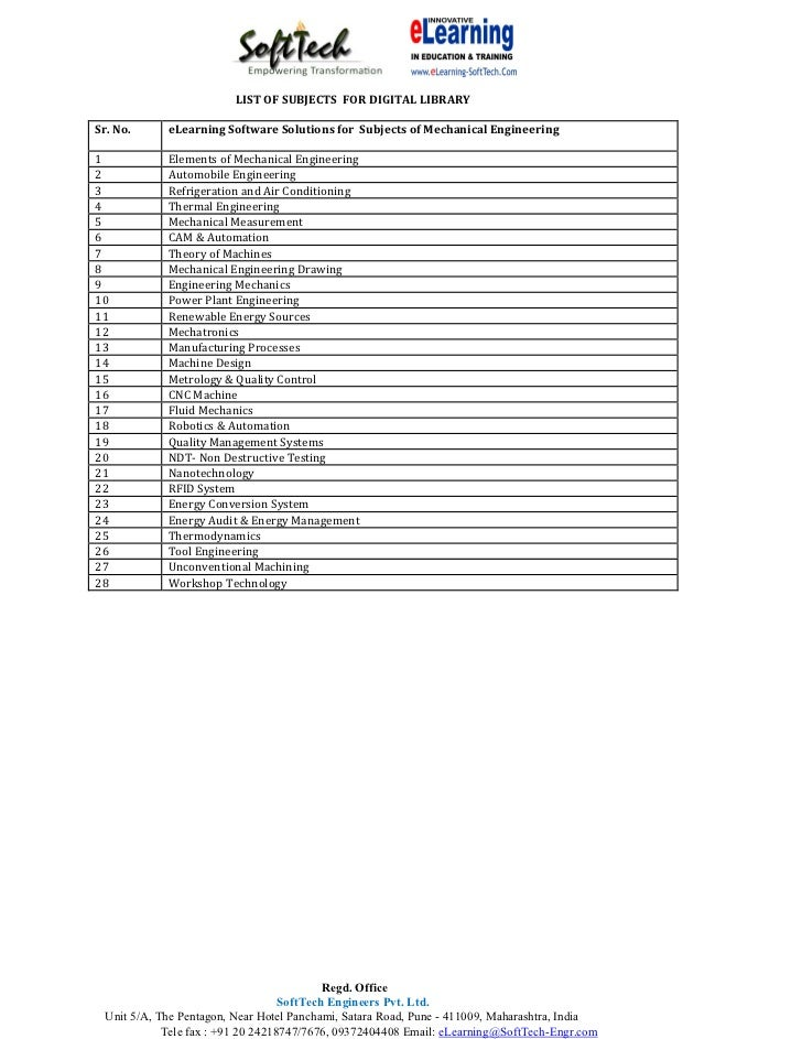 LIST OF SUBJECTS FOR DIGITAL LIBRARYSr. No.     eLearning Software Solutions for Subjects of Mechanical Engineering1      ...