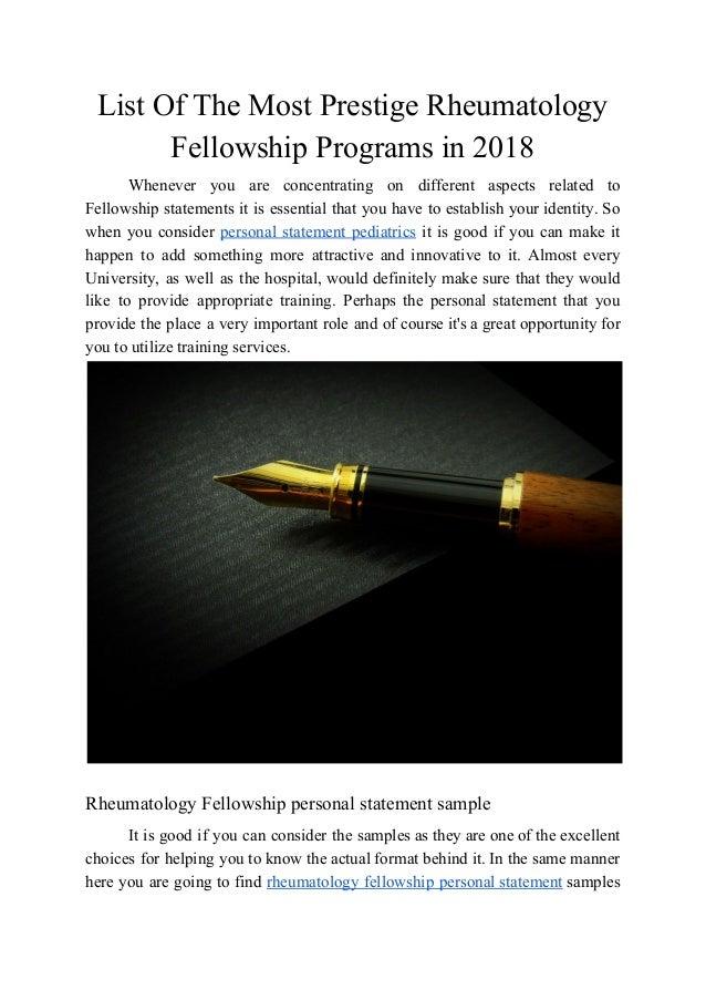 List Of The Most Prestige Rheumatology Fellowship Programs