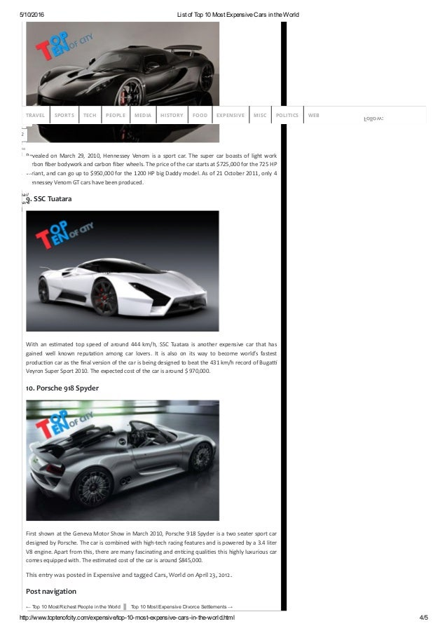 list of top 10 most expensive cars in the world. Black Bedroom Furniture Sets. Home Design Ideas