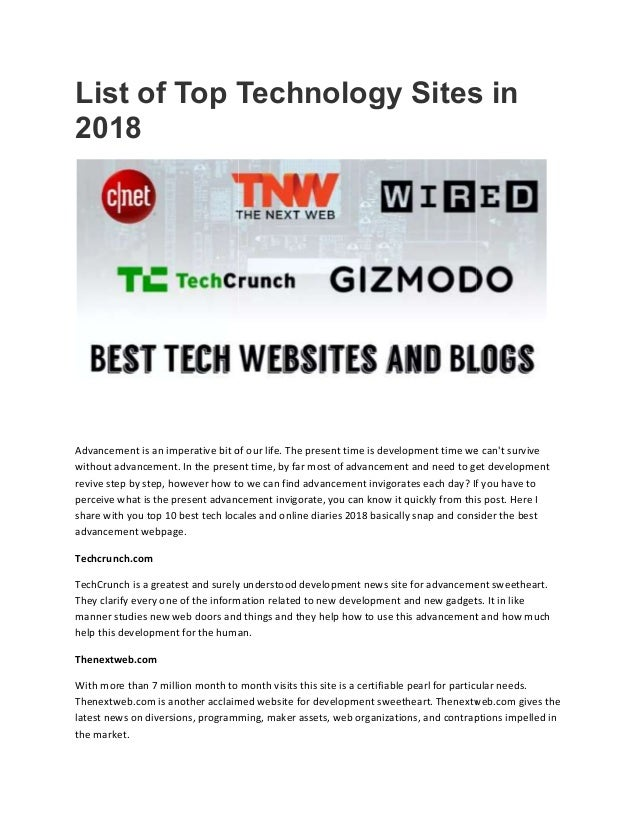 List of top technology Sites in 2018